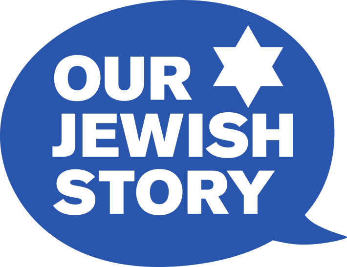 Our Jewish Story logo - OJS letters in the form of a face.